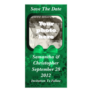 Irish green damask save the date wedding personalised photo card