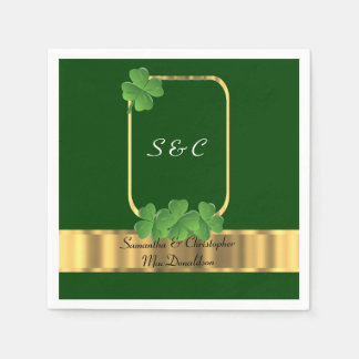 Irish green, gold and shamrock wedding disposable napkins