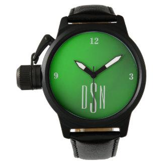 Irish Green Metallic Watch with 3-Initial Monogram