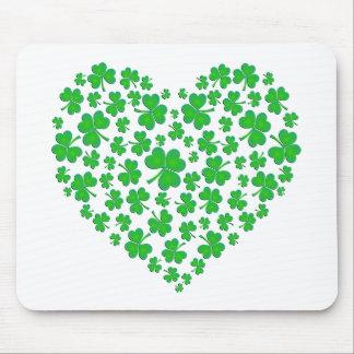Irish Green Shamrock Heart Mouse Pad