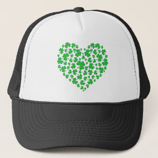 Irish Green Shamrock Heart Trucker Hat