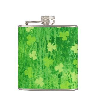 Irish Green Shamrock Pattern ~ Vinyl Wrapped Flask