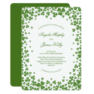 Irish Green Shamrock Wedding Card