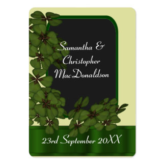 Irish green shamrock wedding favor thank you tag large business cards (Pack of 100)