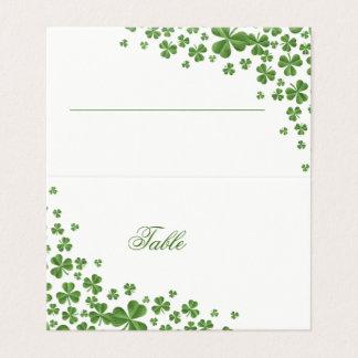 Irish Green Shamrock Wedding Place Card