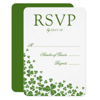 Irish Green Shamrock Wedding RSVP Card