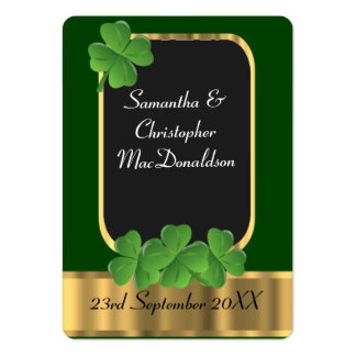 Irish green wedding favor thank you tag pack of chubby business cards