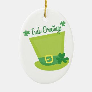 Irish Greetings Double-Sided Oval Ceramic Christmas Ornament