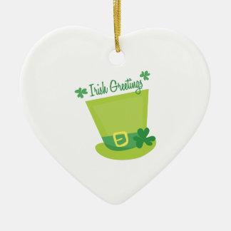 Irish Greetings Ceramic Heart Ornament
