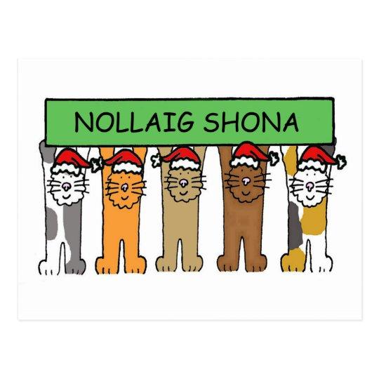Irish Happy Christmas Cats Postcard