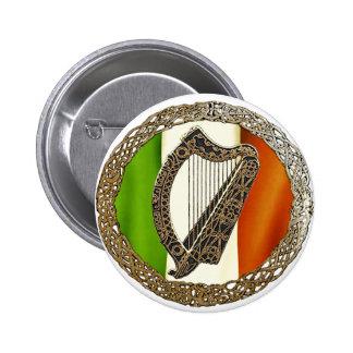 Irish Harp 6 Cm Round Badge