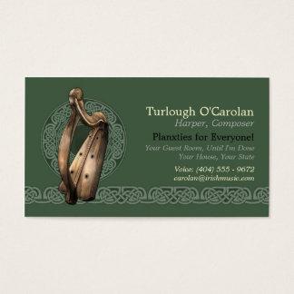 Irish Harp Business Cards, Style 2, Horizontal Business Card
