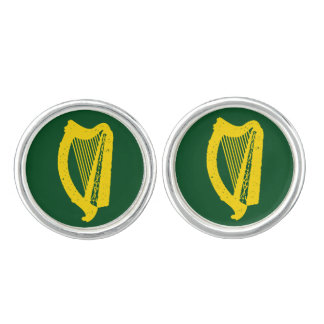 Irish Harp Silver Plated Cufflinks