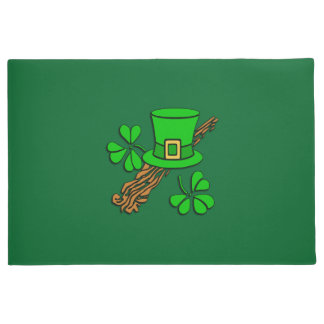 Irish Hat and Shamrocks Doormat
