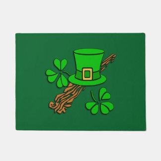 Irish Hat and Shamrocks Doormat