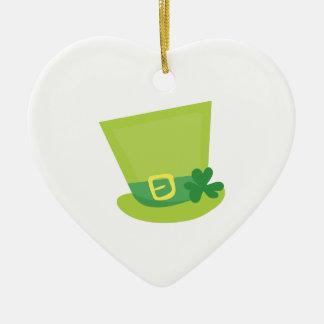 Irish Hat Double-Sided Heart Ceramic Christmas Ornament