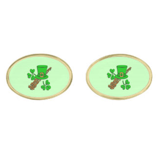 Irish Hat Green Gold Finish Cuff Links