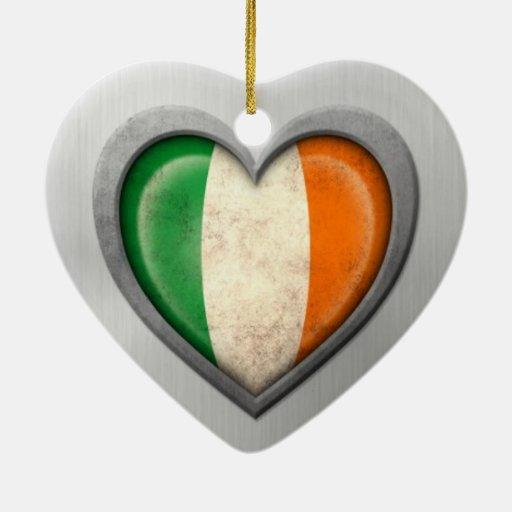 Irish Heart Flag Stainless Steel Effect Christmas Tree Ornaments