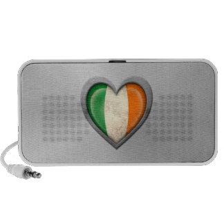Irish Heart Flag Stainless Steel Effect PC Speakers
