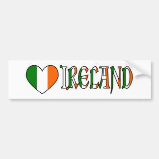 Irish Heart Flag Word Ireland Bumper Stickers