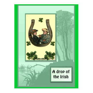 Irish horseshoe and shamrocks postcard