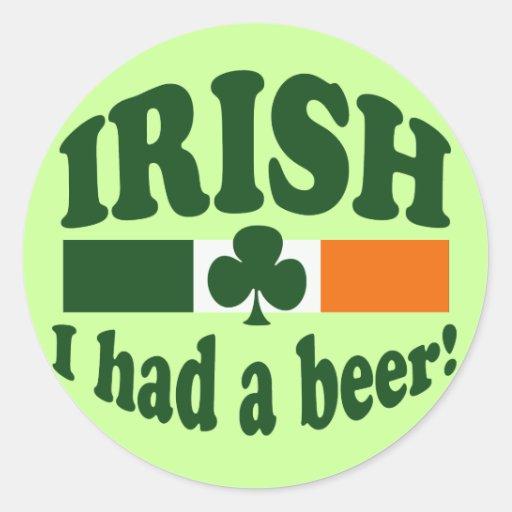 Irish I Had A Beer Round Stickers