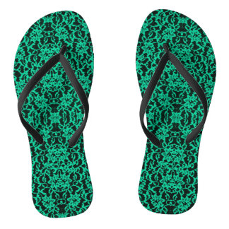 Irish Kelly Green and Black Lace Print Flip Flops Thongs