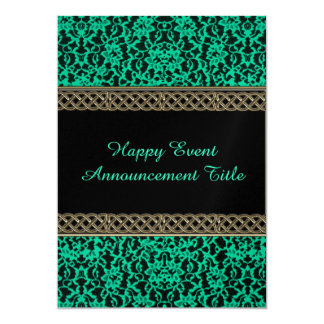 Irish Kelly Green Lace 13 Cm X 18 Cm Invitation Card