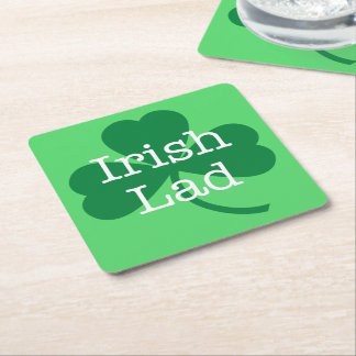 Irish Lad, Green Shamrock St. Patrick's Day Party Square Paper Coaster