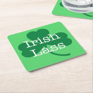 Irish Lass, Green Shamrock St. Patrick's Day Party Square Paper Coaster
