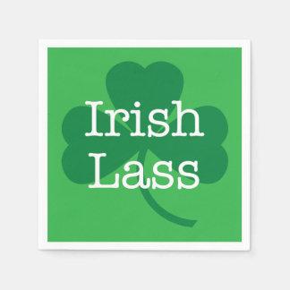 Irish Lass, Shamrock St. Patrick's Day Party Disposable Serviette