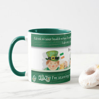 Irish Leprechaun Drinks to your Health, fun Mug