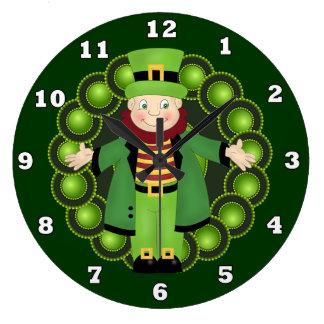 Irish Leprechaun Holiday wall clock