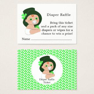 Irish Leprechaun Lucky Shamrock Diaper Raffle Business Card