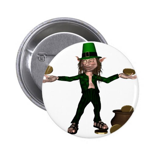 Irish Leprechaun with coins and a pot of gold Pinback Button