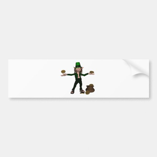 Irish Leprechaun with coins and a pot of gold Bumper Sticker