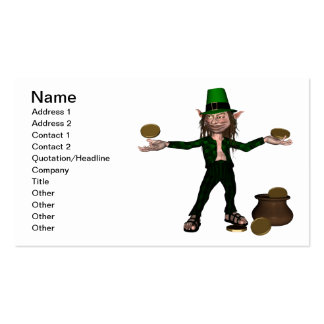 Irish Leprechaun with coins and a pot of gold Business Cards