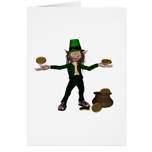 Irish Leprechaun with coins and a pot of gold Card
