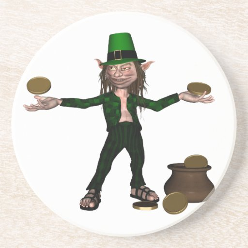 Irish Leprechaun with coins and a pot of gold Drink Coasters