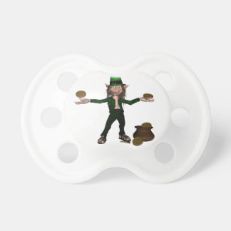 Irish Leprechaun with coins and a pot of gold Baby Pacifiers