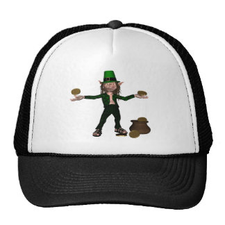 Irish Leprechaun with coins and a pot of gold Trucker Hats