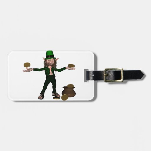 Irish Leprechaun with coins and a pot of gold Tags For Luggage