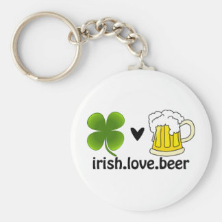 Irish Love Beer Basic Round Button Key Ring