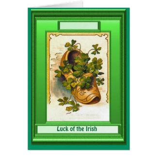 Irish Luck,  Clog full of shamrock Greeting Card