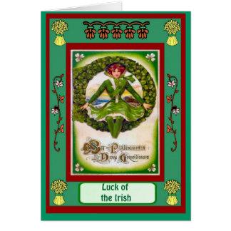 Irish Luck, Girl in a circle of shamrocks Greeting Card