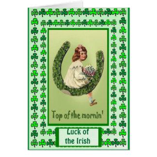 Irish Luck, GIrl on a Horseshoe Card