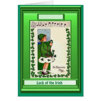 Irish Luck,  Girl with shamrocks and music Card