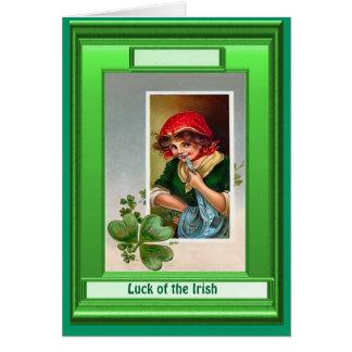 Irish Luck,  Girl with shamrocks Card