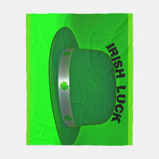 IRISH LUCK Green Derby Hat Fleece Blanket