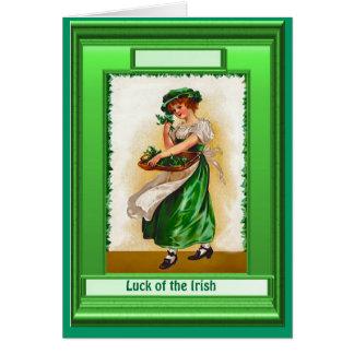 Irish Luck, Irish colleen with shamrocks Greeting Card